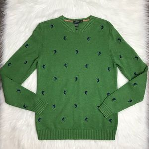 J. Crew green navy marlin fish cotton sweater XS